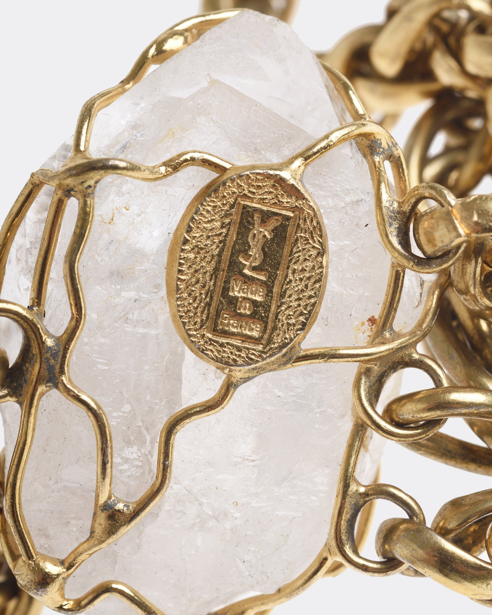 YVES SAINT LAURENT Quartz Pendant Golden Belt