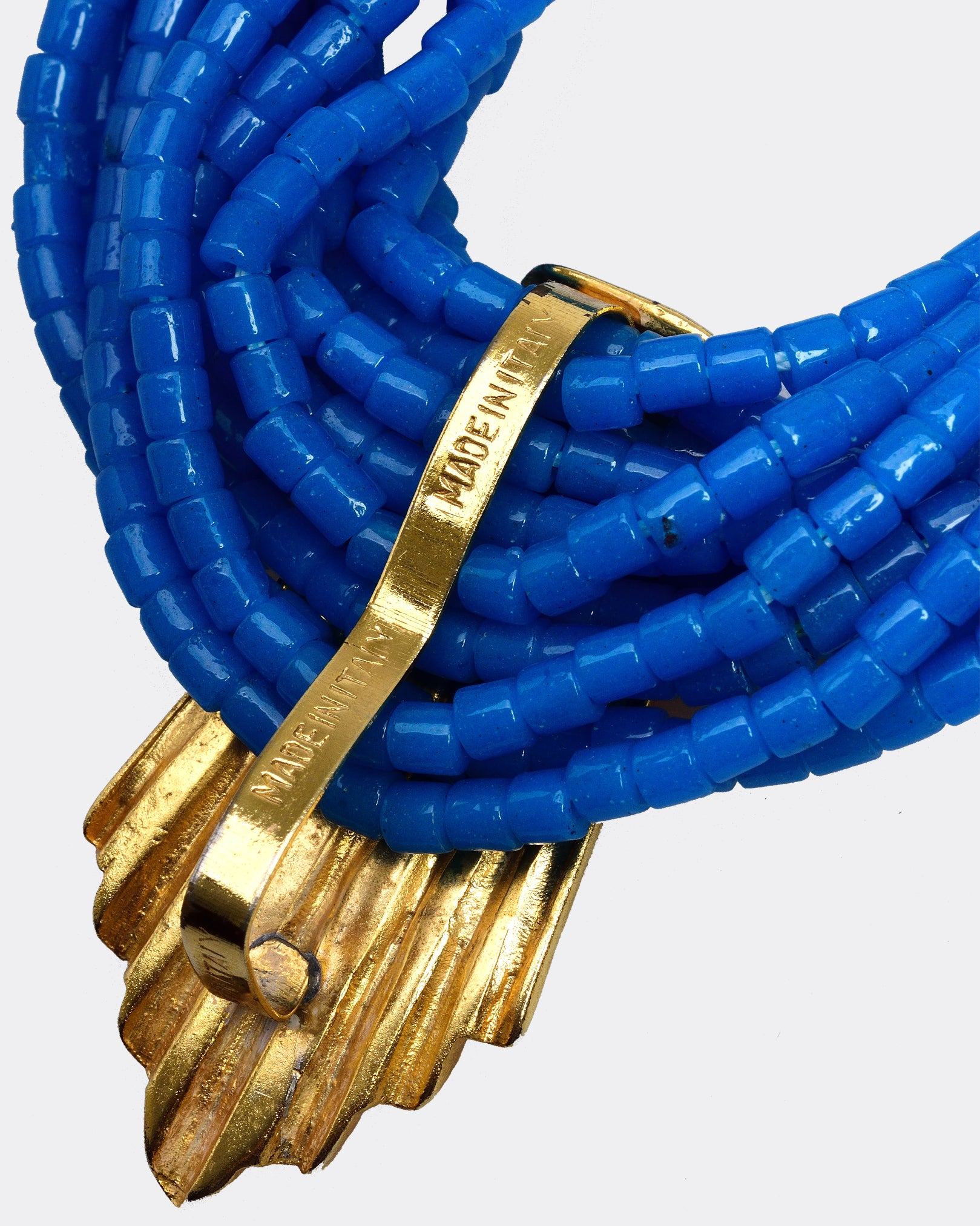 UGO CORREANI 1980s Blue Beads Vintage Choker Necklace