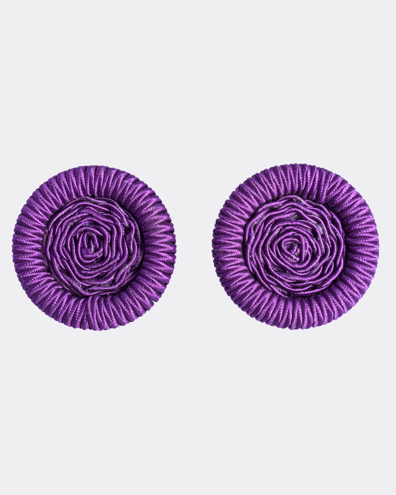 1980s Purple Macrame Earrings and Necklace