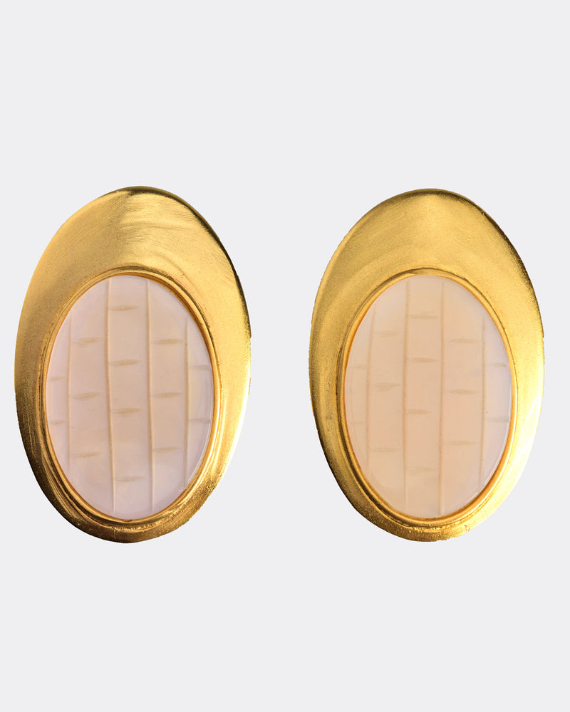 1980s Quartz Golden Earrings