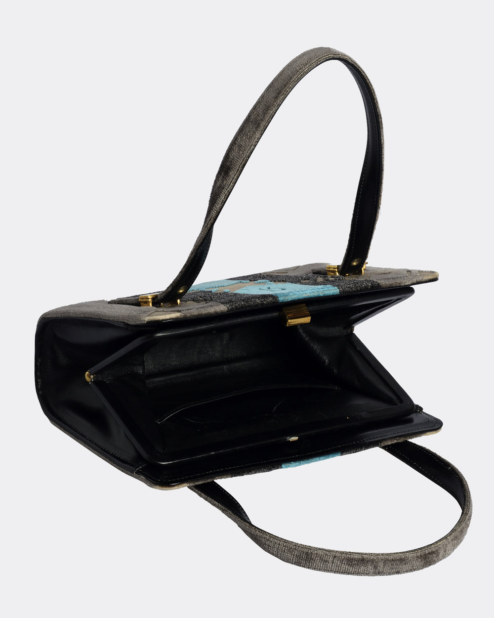 ROBERTA di CAMERINO Grey and Blue Handbag