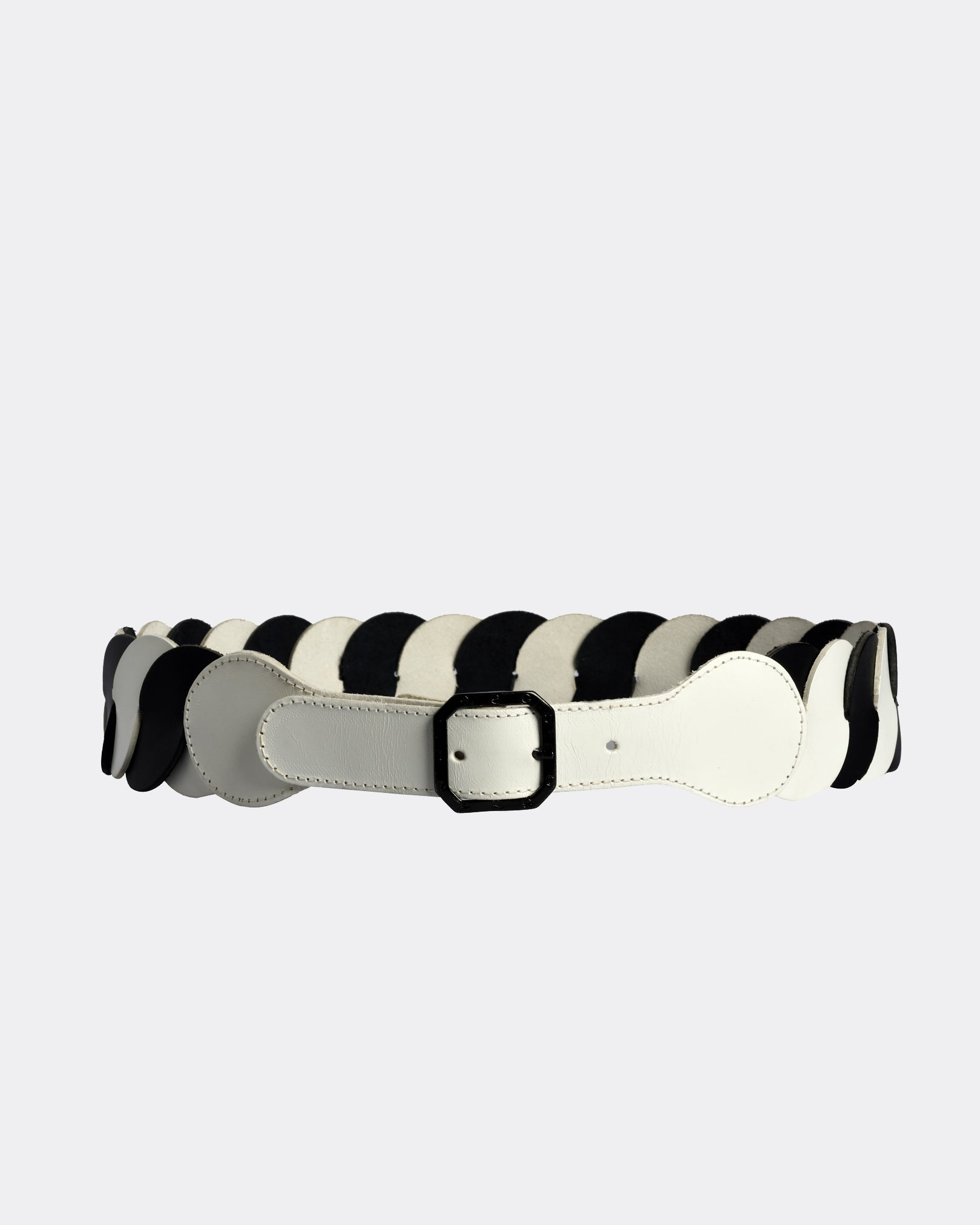 VINTAGE 1980s Black and White Leather Belt