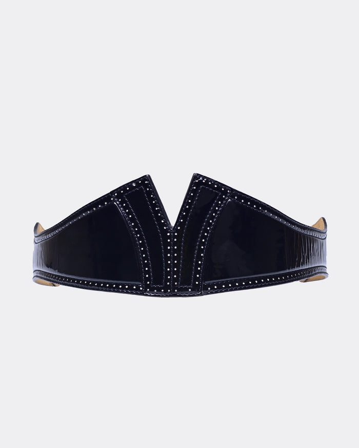 ALAÏA Black Waist Perforated Y Belt