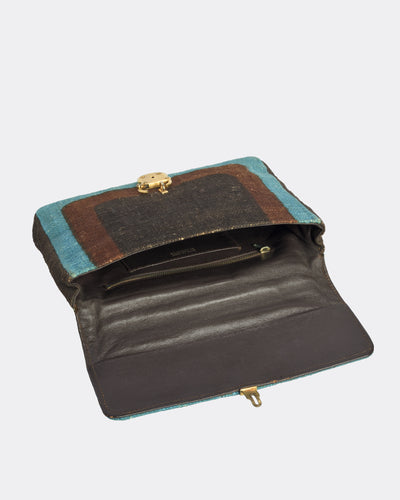 ROBERTA di CAMERINO Blue and brown Handbag hemp fabrics