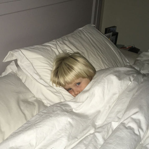 Lizzie's son her White & Green organic bed sheets