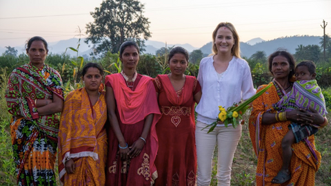 White & Green Co-Founder, Rebecca, with our famers in India