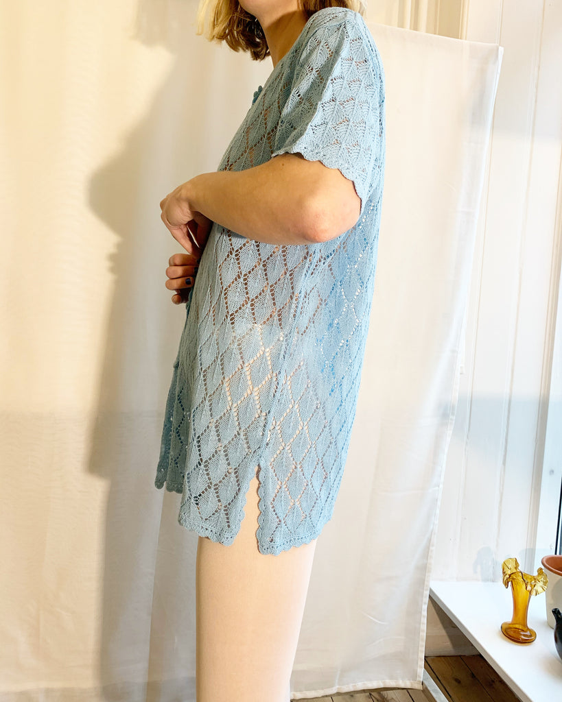 Baby blue knitted cardi shirt