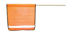 "REFLECTIVE STRIPE SAFETY FLAG WITH DOWEL- 18""x18"""