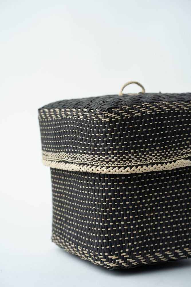 Bidayuh Lidded Storage Basket |Charcoal