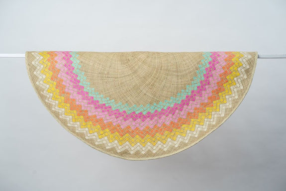 Sunburst Mat | 4' Round | Natural Base | Pastel