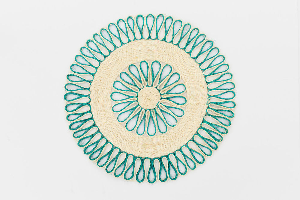Handwoven Placemat Set | Trivet | Aqua blue