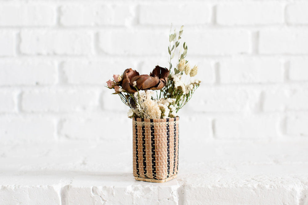 Decorative Dried Flowers in Mini Bidayuh Storage Basket