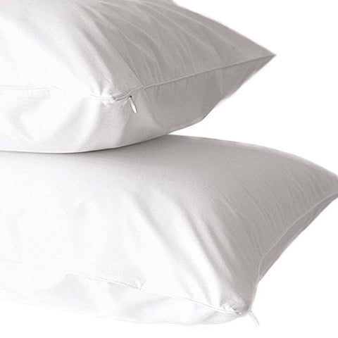 2-Pack Bed Bug Resistant 100% Cotton Zippered Pillow Covers. (STANDARD)