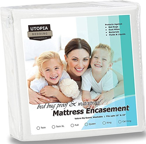 Bed Bugs Bedding Waterproof Zippered Mattress Encasement Cover - Bed Bug Proof, Vinyl Safe and Hypoallergenic Protection (TWIN-XL)