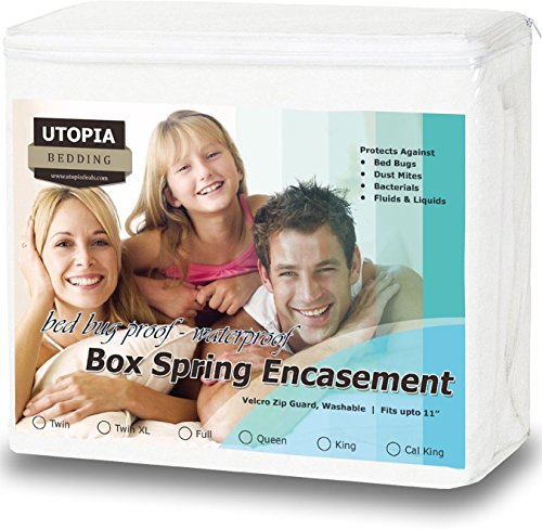 Bed Bug Proof BOX SPRING ENCASEMENT - Waterproof Zippered Box Spring Cover Knitted Box Spring Protector (FULL)