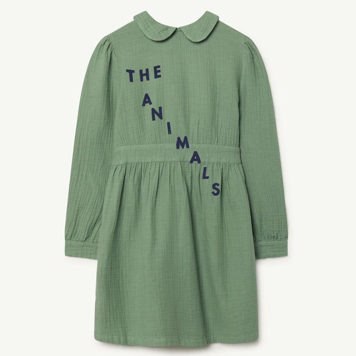 The Animals Observatory FW18 - Canary Kids Dress Green White TAO