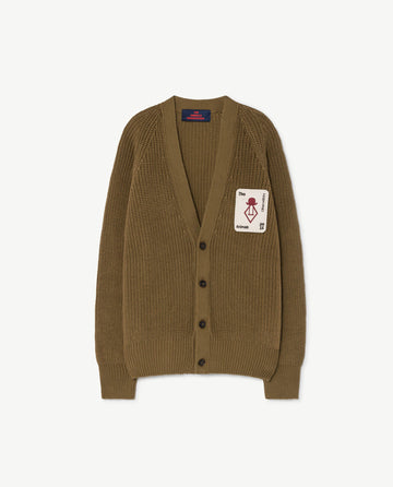 Plain Racoon Kids Cardigan Military Green