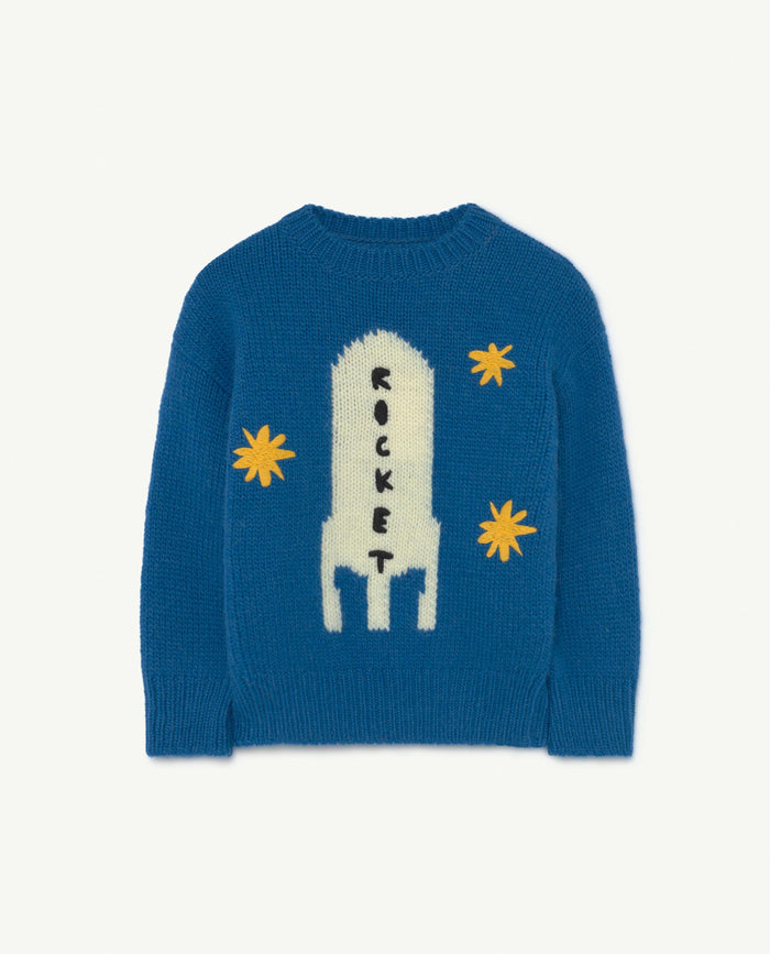 Space Bull Kids Sweater Blue