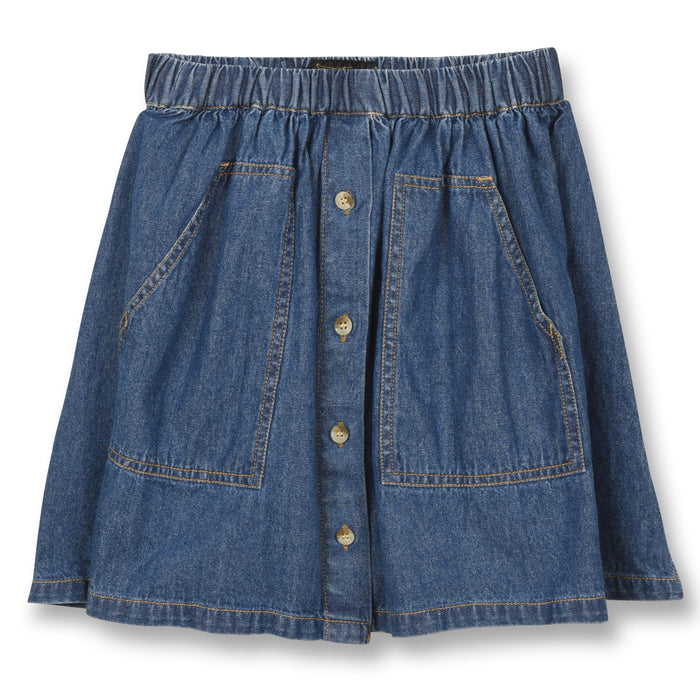 Ashby Dark Blue Denim - Girl Woven Skirt