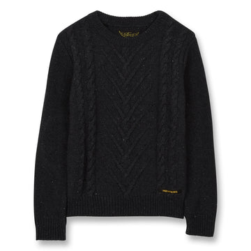 Avery Anthracite - Boy Knitted Round Neck Cable Jumper