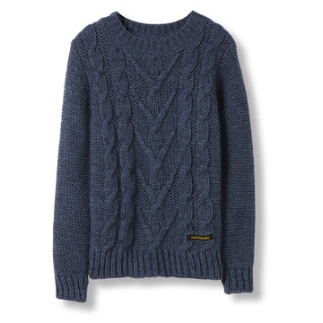 Avery Indigo - Unisex Heavy Knitted Round Neck Cable Jumper