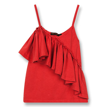 Cathy Poppy Red - Girl Knitted Jersey Tank Top