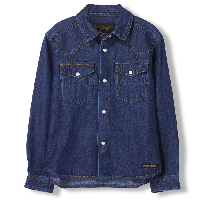 DUSK Blue Denim -  Woven Long Sleeve Shirt
