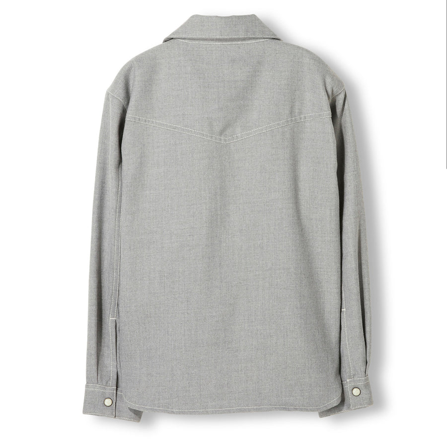 DUSK Heather Grey -  Woven Long Sleeve Shirt