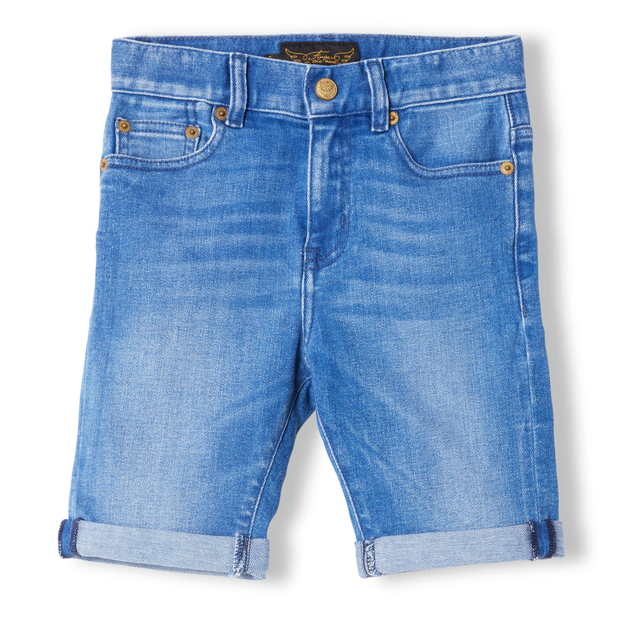 EDMOND Mid Blue Denim - Boy Woven 5 Pocket Comfort Fit Shorts