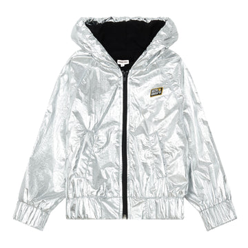 Shiny Jacket With Zip Argenté