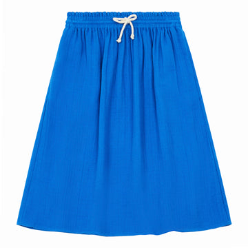 Cotton Gauze Long Skirt Bleu