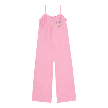 Cotton Gauze Embroidered Dungarees Rose