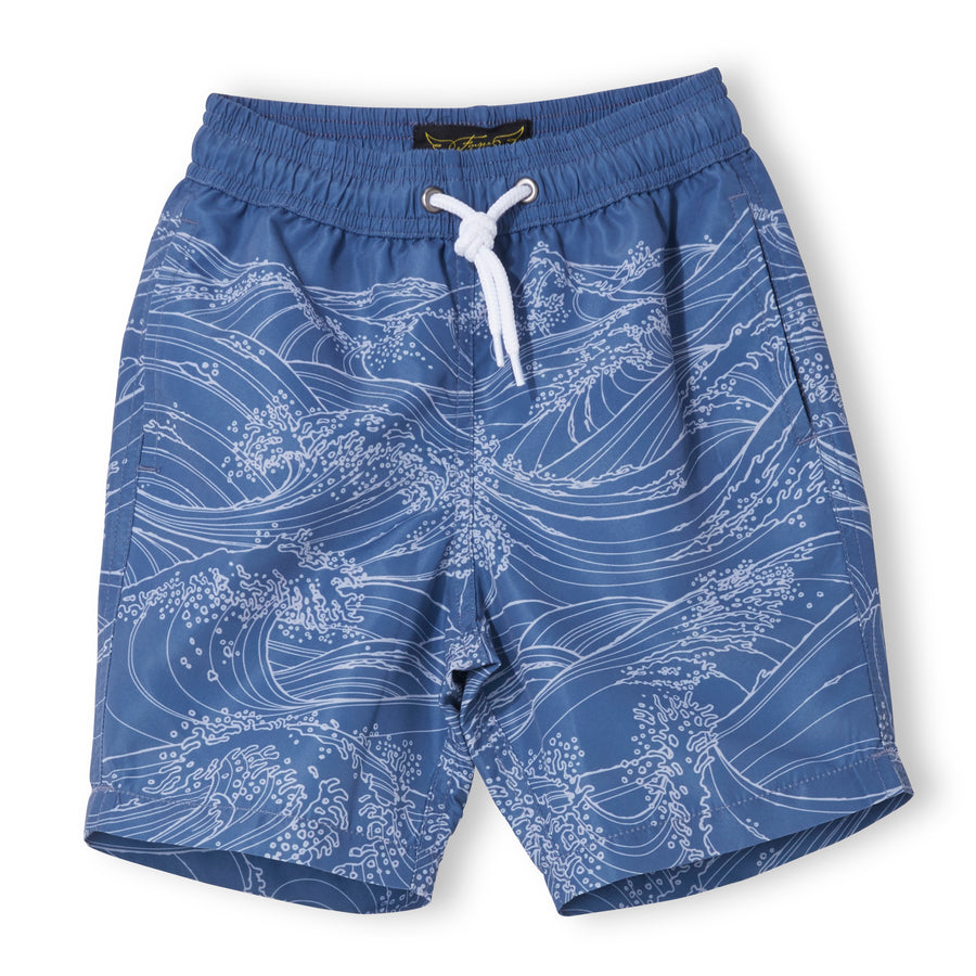 GOODBOY Indi Blue Waves - Boy Woven Surf Bermudas