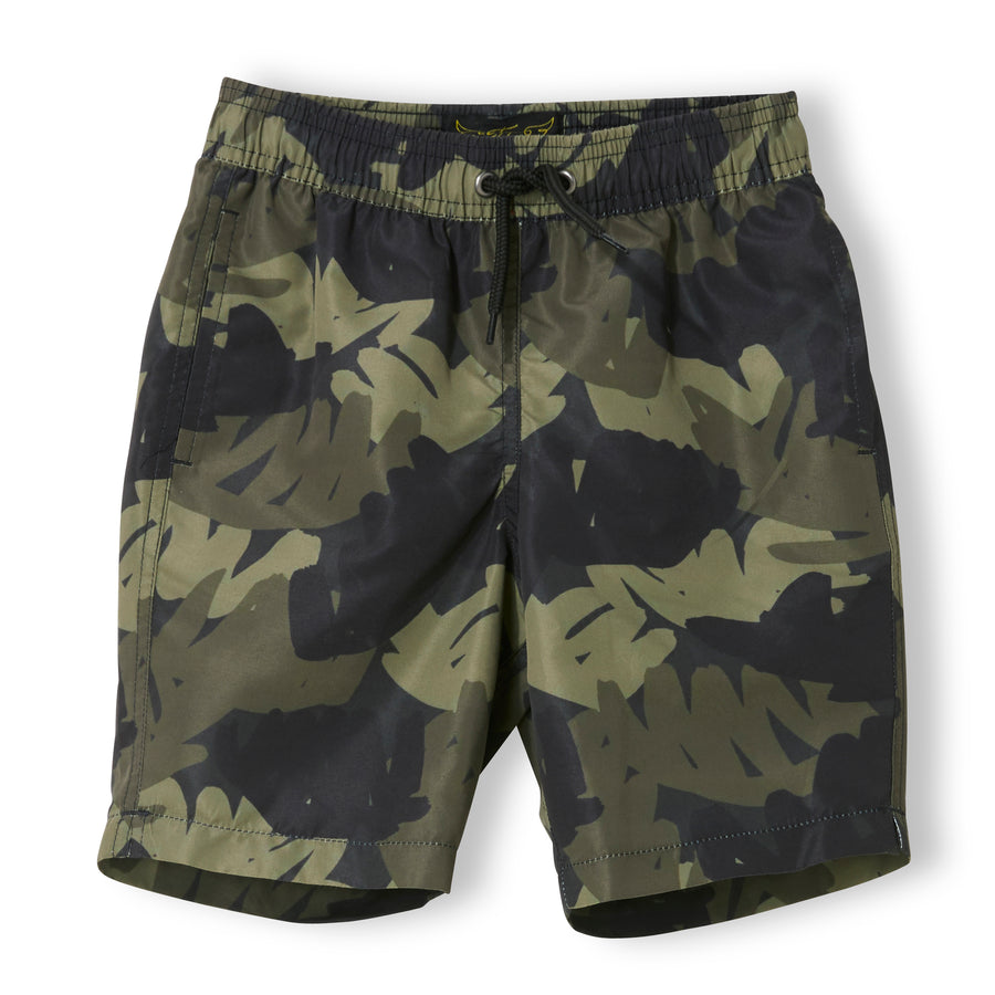 GOODBOY Khaki Tropical Leafs - Boy Woven Surf Bermudas