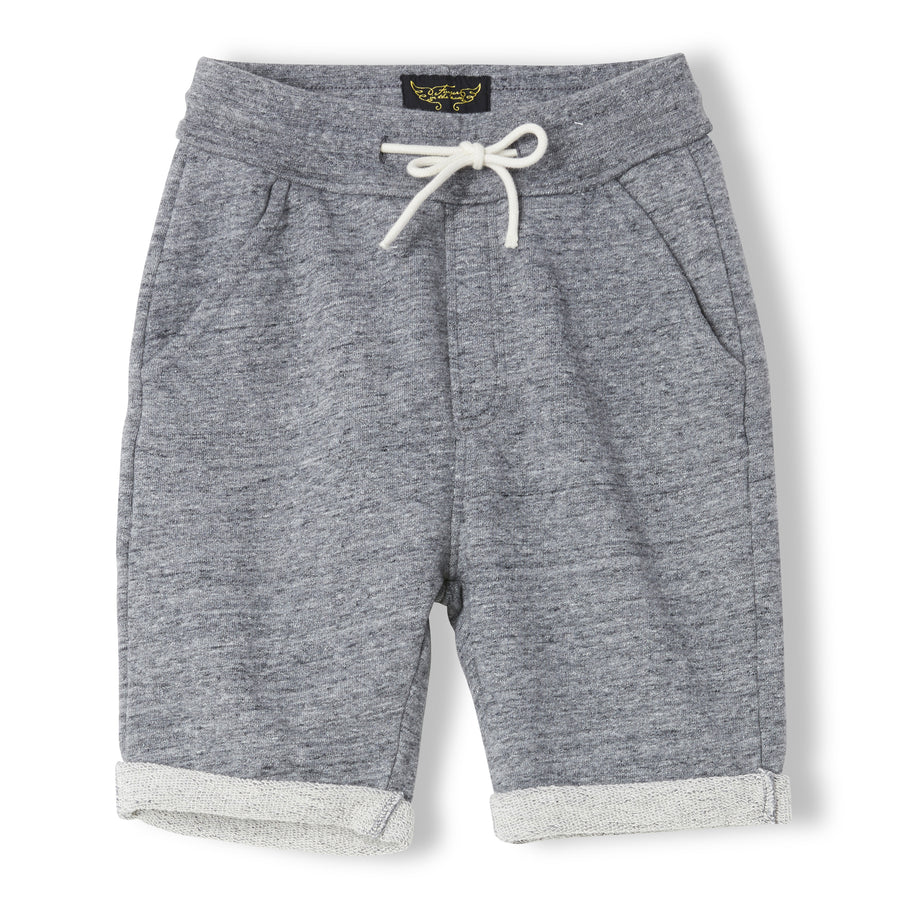 GROUNDED Heather Charcoal - Boy Knitted Fleece Comfort Fit Bermudas