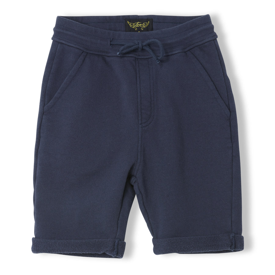 GROUNDED Super Navy - Boy Knitted Fleece Comfort Fit Bermudas