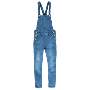 INES Medium Blue - Girl Woven Denim Overall