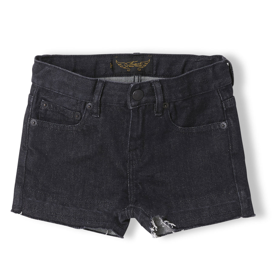 NOVA Black Denim - Girl Woven 5 Pocket Mini Shorts