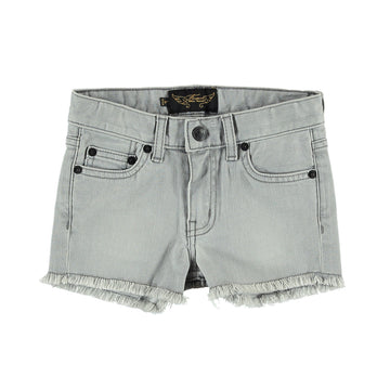 NOVA Bleached Grey Fringes - Girl Woven 5 Pocket Mini Shorts