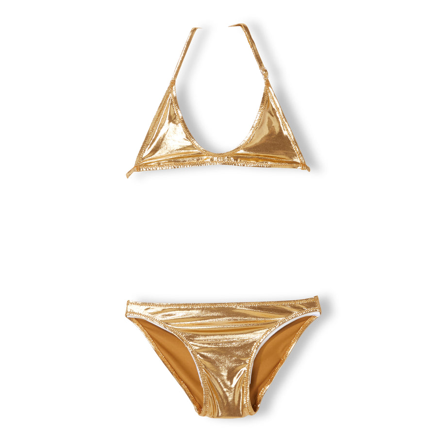 PAMELETTO Gold Metal - Girl Knitted Triangle Bikini