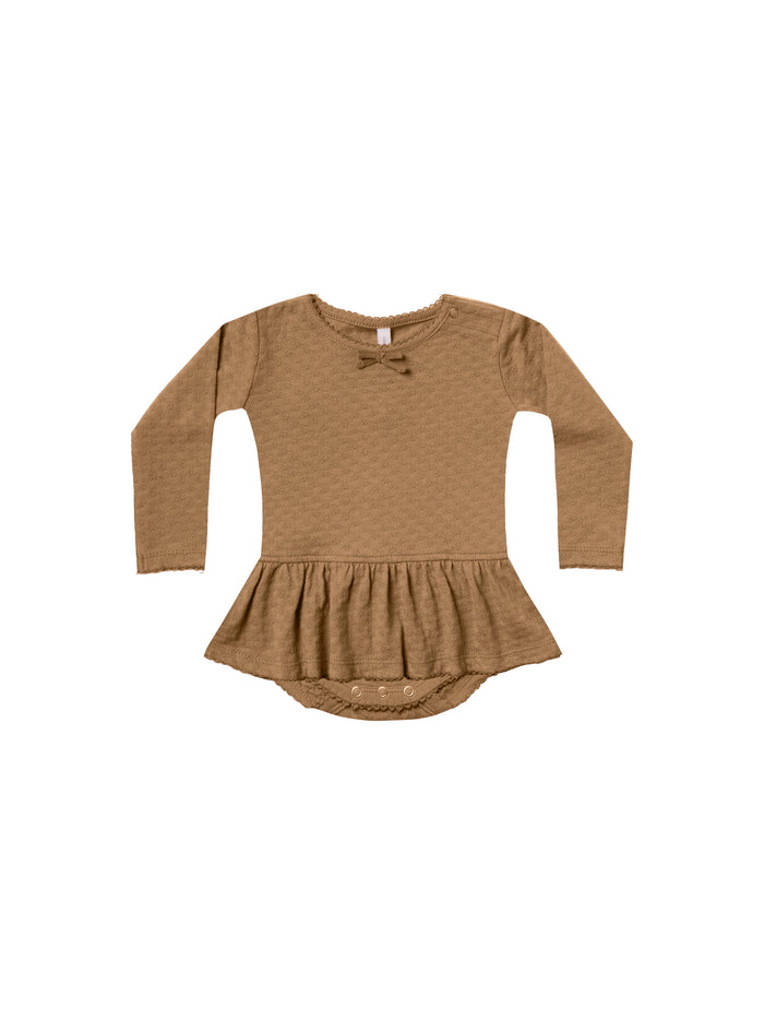 Pointelle Skirted Bodysuit Walnut