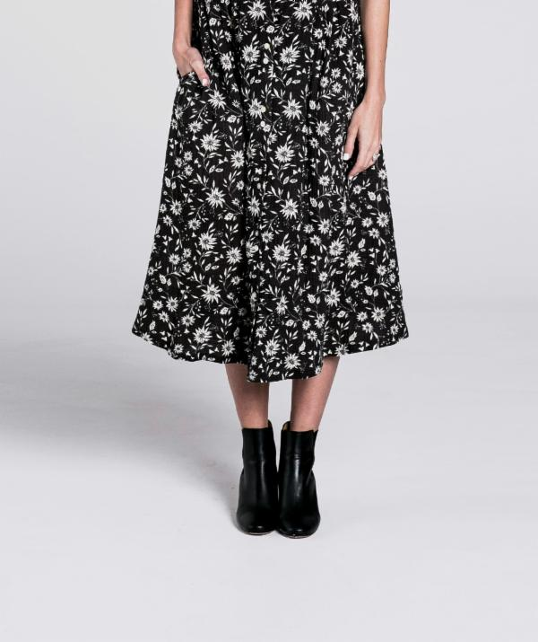 midnight floral midi skirt FW18