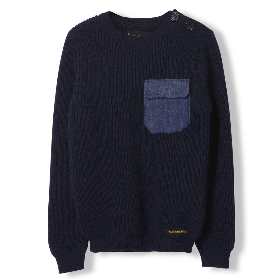 Rudy Slate Blue - Boy Heavy Knitted Round Neck Jumper