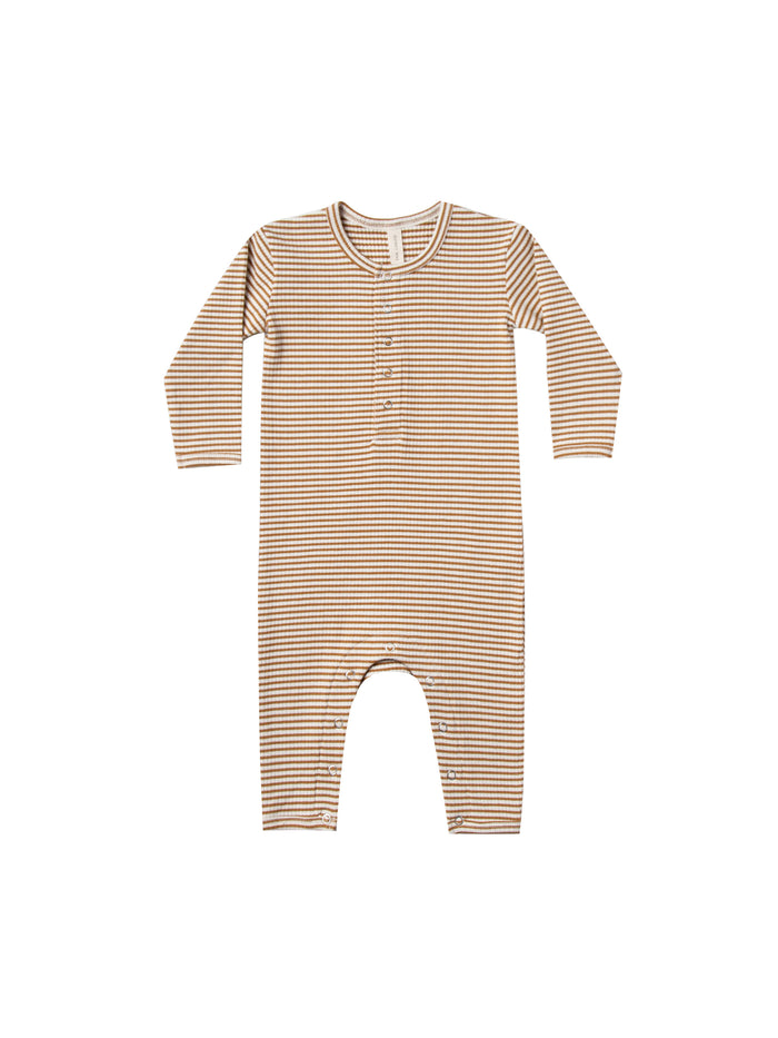 Ribbed Baby Jumpsuit Walnut Stripe