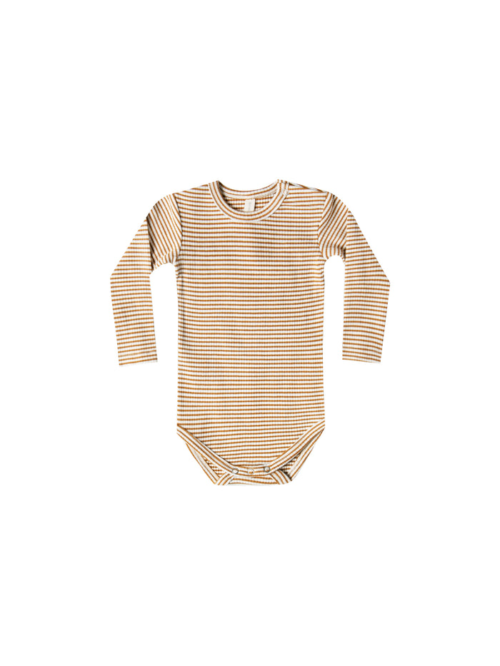 Ribbed Longsleeve Onesie Walnut Stripe