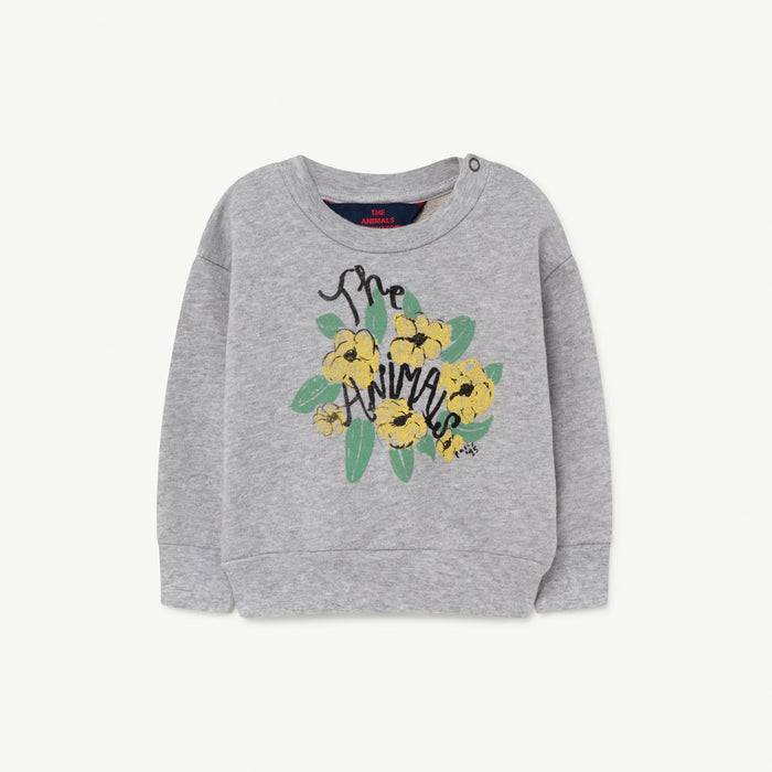 The Animals Observatory - Sweatshirts - Bear Baby Sweatshirt Grey Flowers