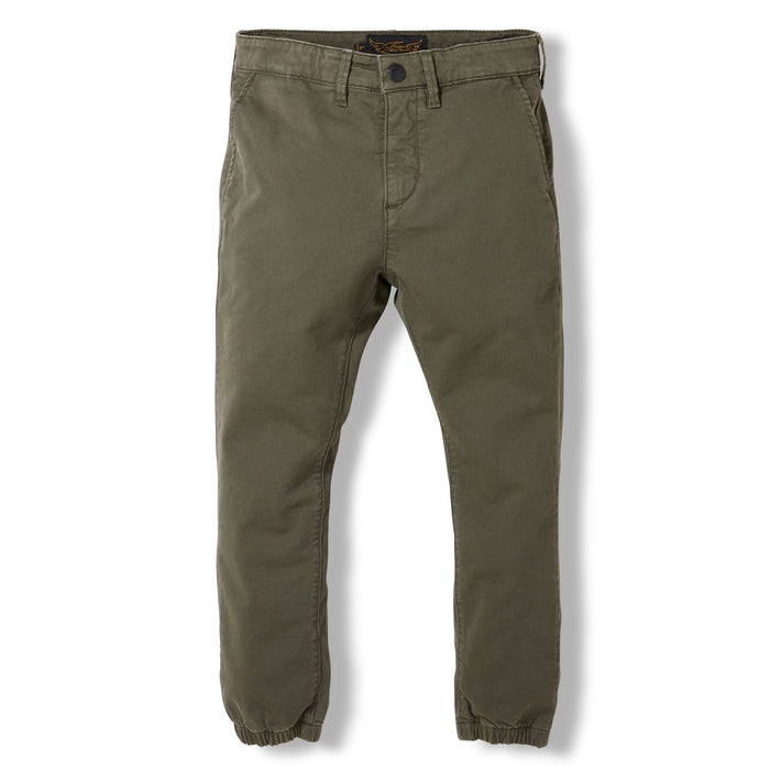 SKATER Army Green  -  Woven Elasticed Bottom Chino Fit Pants