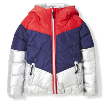 Snowdance Silver Colorblock - Girl Woven Reversible Down Jacket