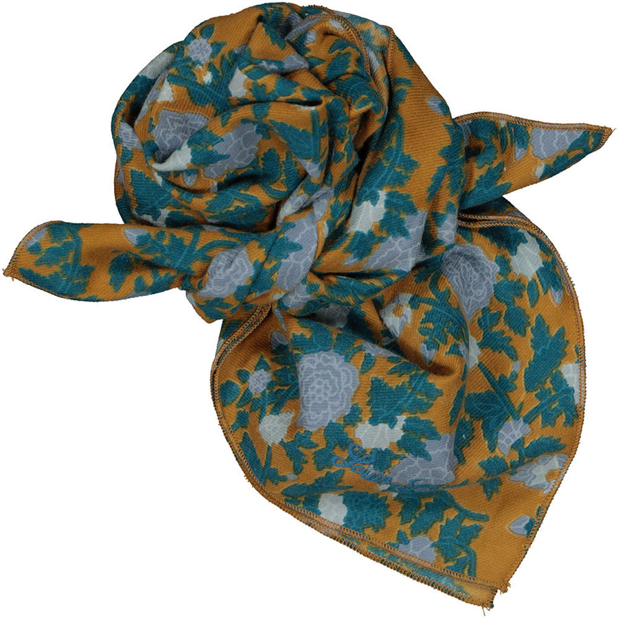 Scarf Sissi Indian Flower Twill Cognac