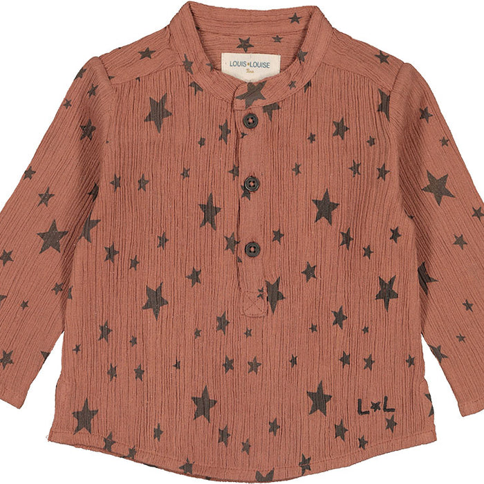 Shirt Grand-Pere Cotton Crepe Stars Sienne